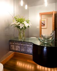 ralph lauren paint with floating vanity powder room contemporary