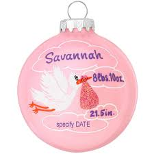 personalized stork with clouds birth statistics ornament