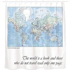 Pvc Free Shower Curtain Snagshout World Map Shower Curtain With Inspiring Quote