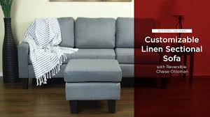 sky3493 sky3494 linen l shape sectional sofa couch w reversible