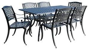 cast aluminum outdoor dining table outdoor 7 piece set traditional