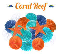 coral reef deluxe party decorations accordion lantern tissue coral reef deluxe party decorations accordion lantern tissue pom kit aqua orange royal star nautical birthday party baby shower