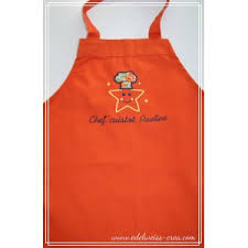 tablier de cuisine enfant tablier de cuisine enfant orange edelweiss creation