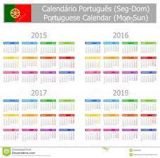 Calendario 2018 Feriados Portugal Calendario Portugués 2015 2018 Tipo 1 Lunes Sun Ilustración