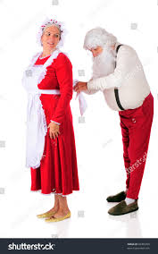santa claus tying mrs santas apron stock photo 60305953 shutterstock