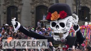 mexicans celebrate day of the dead procession