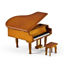 incredible wood tone miniature replica of a baby grand piano with