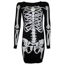 Halloween Skeleton Pattern by New Womens Halloween Skeleton Skull Print Bodycon Bodysuit