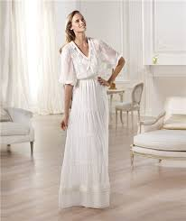 casual wedding dress casual sheath v neck sleeve chiffon garden wedding dress