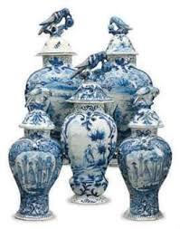 white ginger jar l an assembled five piece dutch delft blue and white garniture of