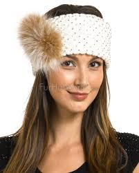 knit headbands knit headband with fox fur in ivory furhatworld
