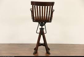 oak swivel 1900 antique architect or drafting stool leather seat
