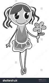 black white sketch holding flower stock vector 290976053