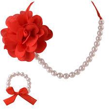 necklace flower handmade images Kids girls handmade flower necklace bracelet set with ribbon jpg