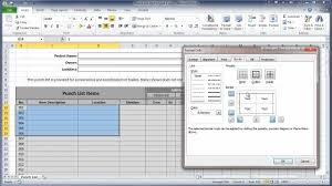 excel 2010 construction punch list part i create table youtube