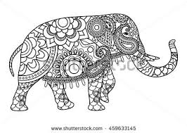 drawing zentangle elephant coloring book stock vector