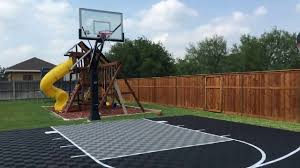 Half Court Basketball Dimensions For A Backyard by Outdoor Basketball Court Youtube