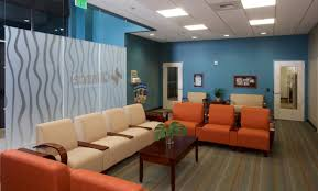 ultra modern waiting room in a long and narrow space really