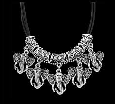 silver plated necklace images Antique silver plated leather rope elephant necklace preciousy png