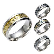 buy metal rings images New stainless steel ring engraved flower pattern 4 colors jpg
