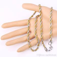 rose tone necklace images U7 two tone gold plated rope chain necklace set party jewelry 18k jpg