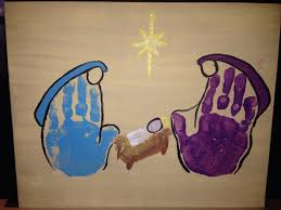 mary joseph and baby jesus handprint artwork creations