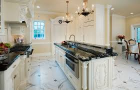 White Kitchen Black Countertop - how black marble can make your home more glamorous
