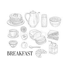 full english breakfast set hand drawn realistic detailed sketch in