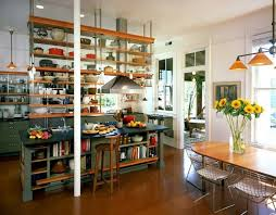 kitchen island with open shelves kitchens industrial kitchen with ceiling hung shelves and an