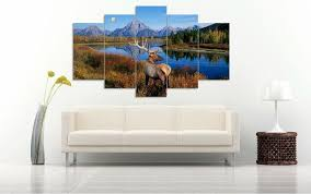 river home decor elk by river 5 panel canvas art set torsteinn home decor