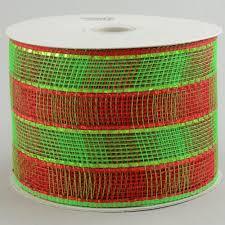 deco mesh ribbon 4 poly mesh ribbon metallic wide foil lime plaid rs2075j5