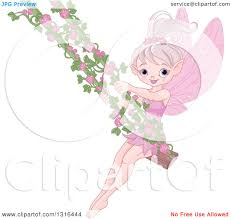 clipart of a happy pink fairy tale pixie on a swing with rose