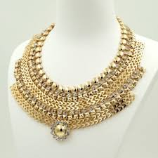 collar gold necklace images Fashion 18k gold gp clear crystal collar bib statement necklace jpg