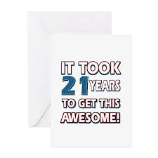 21 year old birthday gift ideas greeting cards pk by swagteez