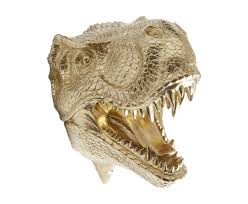 t rex dinosaur head wall mount in gold fun home decor