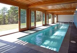 modern indoor pool design exposed wooden sloping rooftop cream