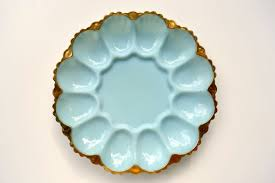 milk glass egg plate vintage 1950s milk glass turquoise deviled egg plate with gold