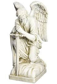 angel statue male with sword kneeling posture free shipping