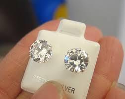 big diamond earrings big diamond studs etsy