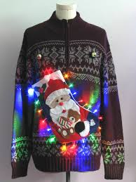 mens multicolor lightup hand embellished ugly christmas sweater