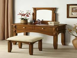 Oak Makeup Vanity Table Bedroom Furniture Rectangle Browk Stained Oak Wood Low Profile