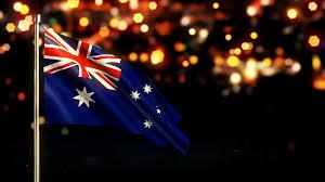 Austailia Flag Australia National Flag City Light Night Bokeh Loop Animation 4k