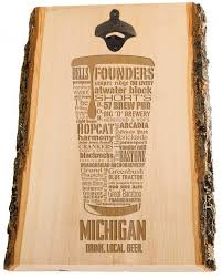 michigan typography bottle opener engraved in wood laser