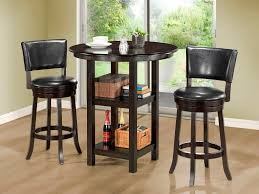 Small High Top Round Kitchen Table With Storage And Shelves For