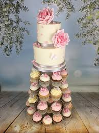 wedding cupcake tower roses and butterflies cupcake tower with 2 tier cutting cake