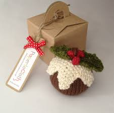 papertoclothstore hand knitted christmas pudding tree decoration