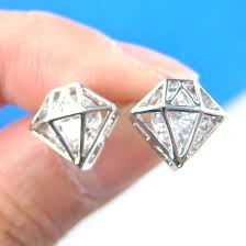 small diamond stud earrings small 3d diamond shaped rhinestone shiny bling stud earrings in