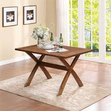 dorel living trestle dining table dark pine