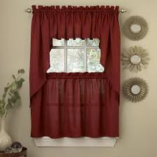 kitchen kitchen curtains with red curtain and white wall design