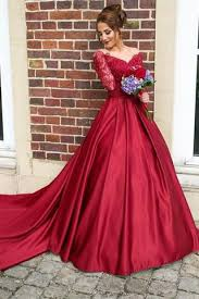 wedding dress for evening burgundy sleeves lace prom dress evening gowns wedding